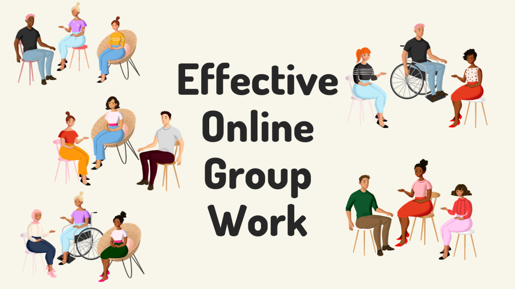 Illustrations of diverse people working in small groups